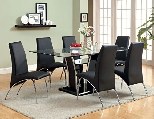 Rectangle Glass Dining Table With Contemporary Base – M&m Home Pertaining To Contemporary Base Dining Tables (Image 22 of 25)