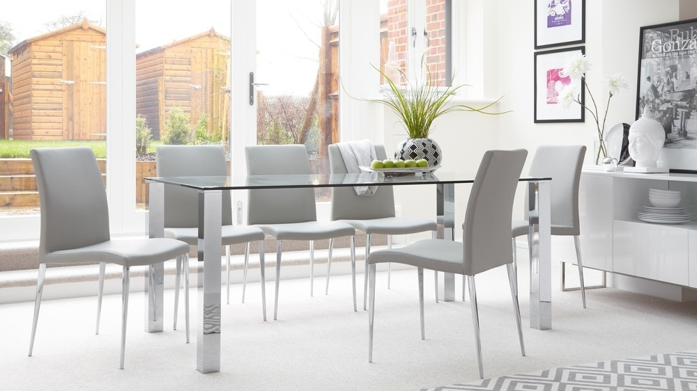 Rectangular Clear Glass Dining Table| Chrome Legs| Uk In Chrome Dining Room Sets (View 3 of 25)