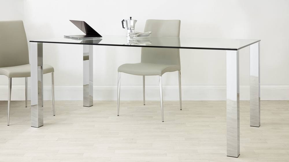 Rectangular Clear Glass Dining Table| Chrome Legs| Uk Throughout Chrome Dining Sets (Image 18 of 25)