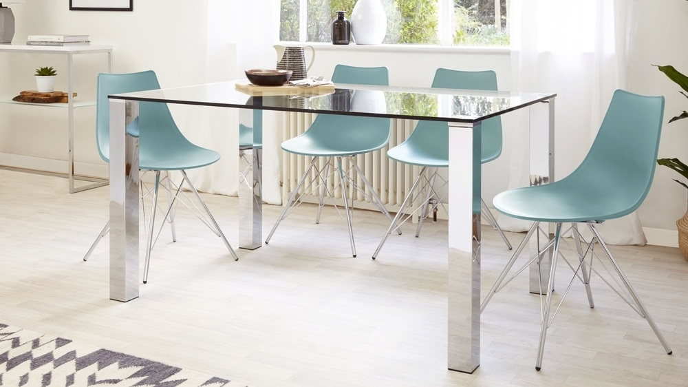 Rectangular Clear Glass Dining Table| Chrome Legs| Uk With Glass And Chrome Dining Tables And Chairs (Image 21 of 25)