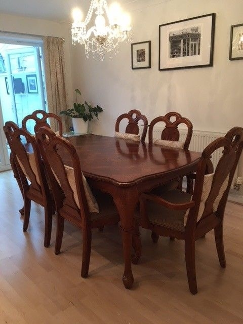 Rectangular Dark Wood Polished Dining Table 6 Chairs Inc 2 Carvers For Dark Wood Dining Tables And 6 Chairs (Image 22 of 25)