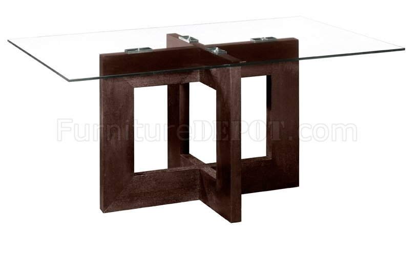 Rectangular Glass Top Modern Dining Table With Wooden Base Within Contemporary Base Dining Tables (View 25 of 25)