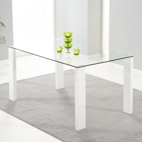 Rectangular Shaped Clear Glass Dining Table Together Four Hexagonal For Glass And White Gloss Dining Tables (View 22 of 25)