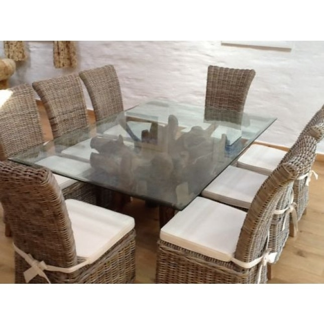 Rectangular Teak Root Glass Topped Dining Table And Kubu Grey Throughout Wicker And Glass Dining Tables (Image 13 of 25)