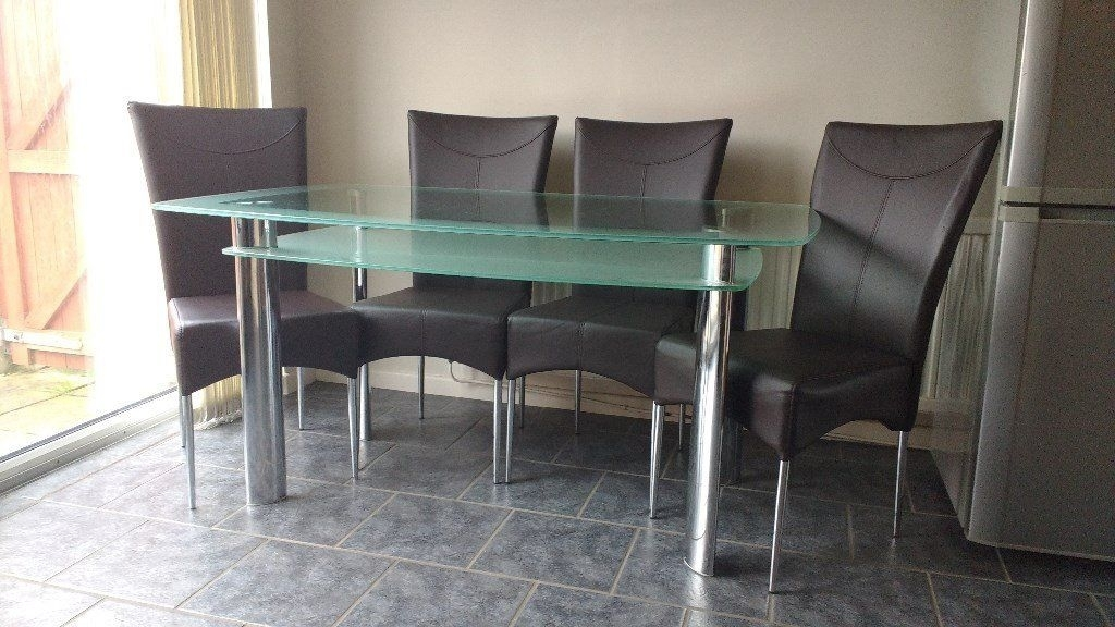 Rectanguler Two Tiered Frosted Glass Dining Table And Four Leather In Smoked Glass Dining Tables And Chairs (Image 16 of 25)