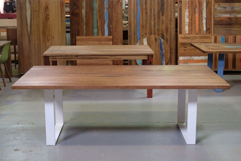 Recycled Timber Dining Tables & Outdoor Timber Furniture Melbourne In Dining Tables With White Legs (Image 16 of 25)