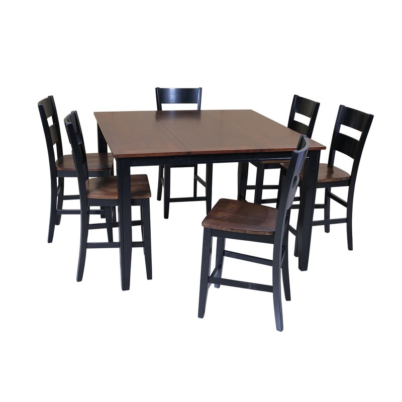 Red Barrel Studio Blessington 7 Piece Counter Height Solid Wood With Regard To Chandler 7 Piece Extension Dining Sets With Fabric Side Chairs (Image 15 of 25)