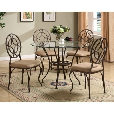 Red Barrel Studio Epworth 5 Piece Dining Set | Pinterest | Barrels Regarding Jaxon 7 Piece Rectangle Dining Sets With Upholstered Chairs (Image 18 of 25)