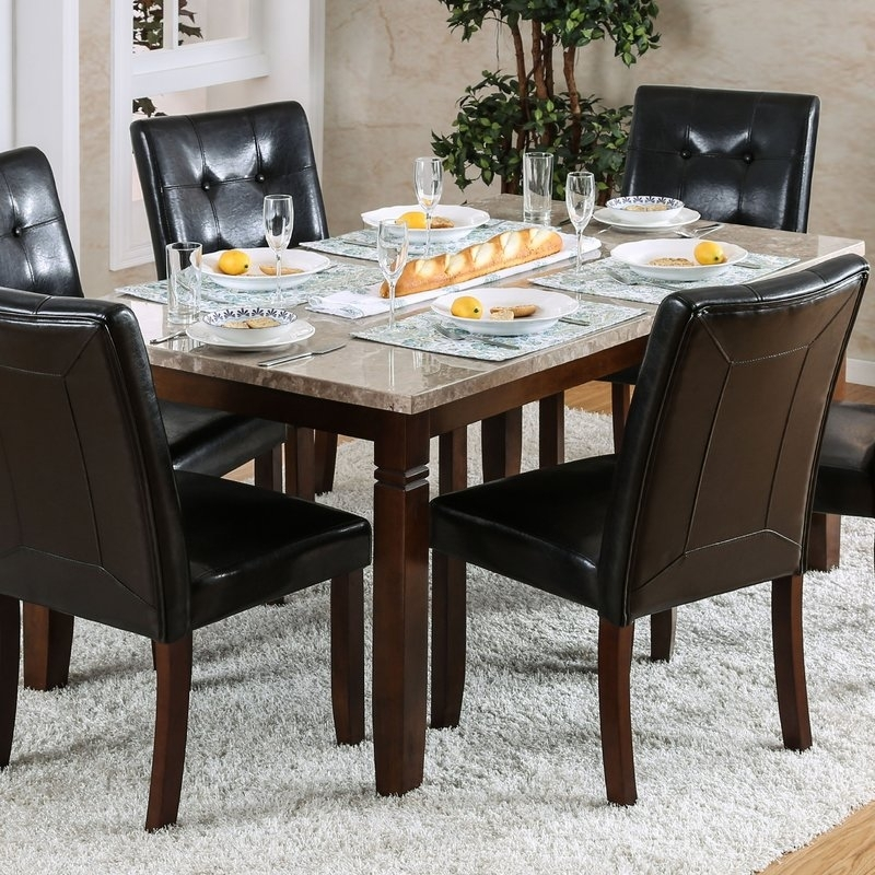 Red Barrel Studio Gibbons 7 Piece Dining Set | Wayfair Inside Candice Ii 7 Piece Extension Rectangular Dining Sets With Uph Side Chairs (View 3 of 25)