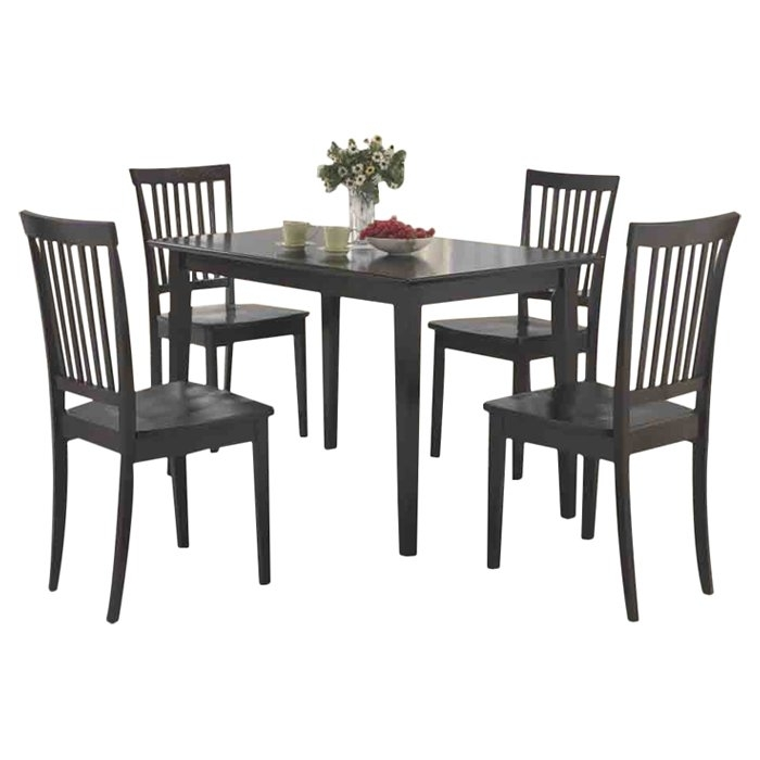 Red Barrel Studio Holcomb 5 Piece Dining Set & Reviews | Wayfair Intended For Candice Ii 7 Piece Extension Rectangular Dining Sets With Slat Back Side Chairs (View 6 of 25)