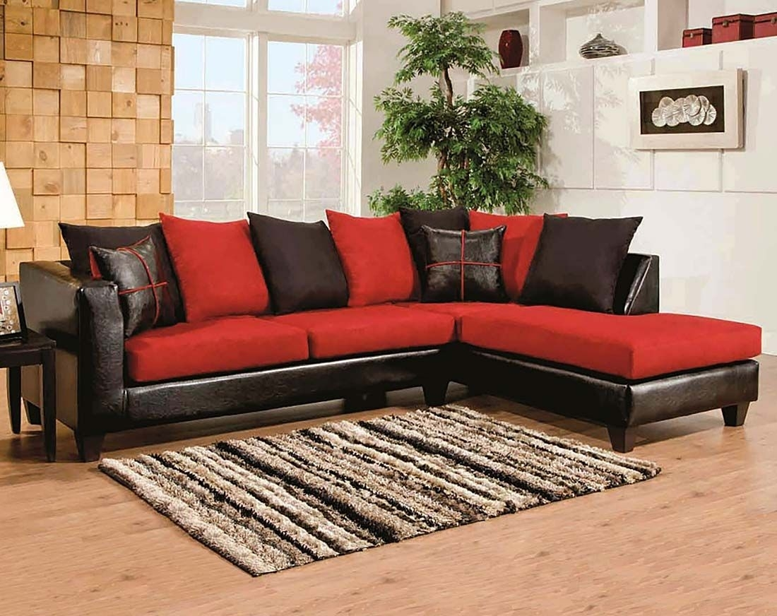 Red, Black Couch, Microfiber | Sierra Cardinal 2 Piece Sectional Inside Sierra Foam Ii 3 Piece Sectionals (Image 21 of 25)