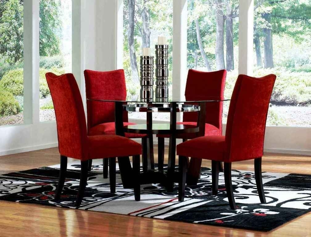 Red Dining Room Sets Cheap Round Glass Dining Table And Red Chairs Within Red Dining Table Sets (View 9 of 25)