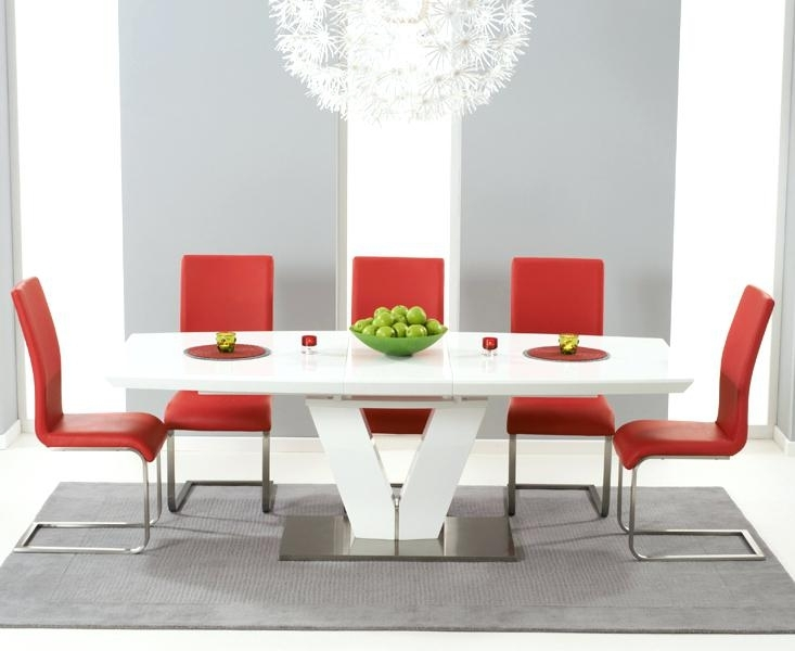 Red Dining Room Sets Wooden Dining Set With 6 Dining Chairs In Red For Red Dining Table Sets (Image 14 of 25)