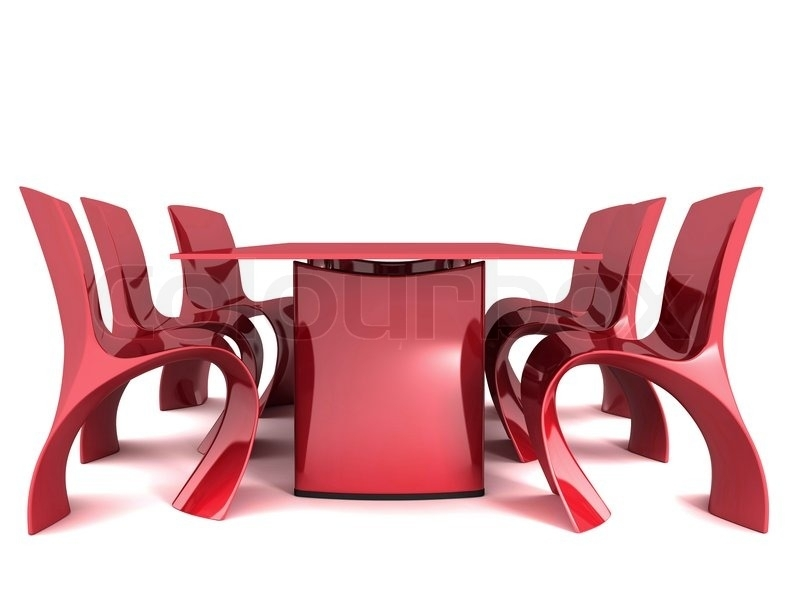 Red Dining Table And Chairs Isolated On White Background   Stock Within Red Dining Tables And Chairs (Image 18 of 25)