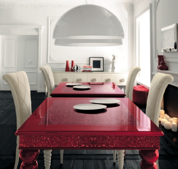 Red Dining Table With White High Backed Chairsaltamoda Throughout Red Gloss Dining Tables (Image 13 of 25)