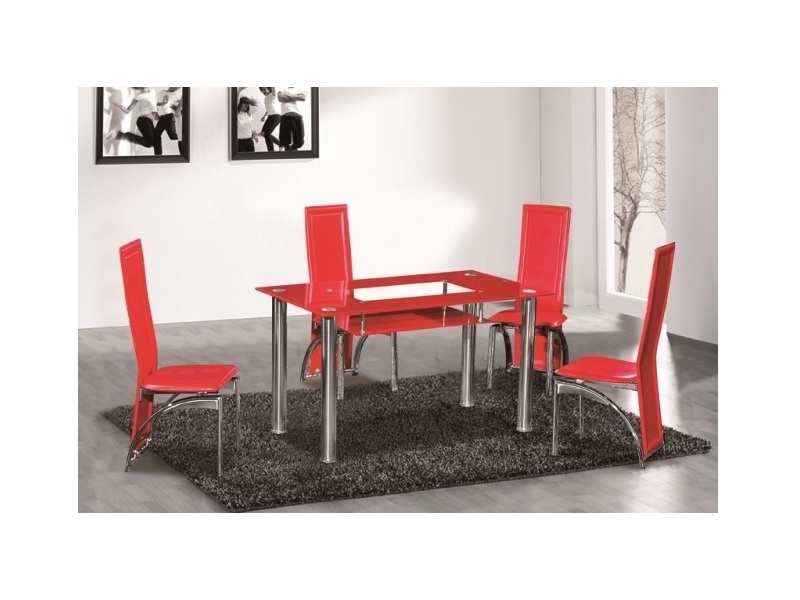 Red Glass Dining Table 6 Seater – Homegenies In Red Dining Tables And Chairs (View 6 of 25)