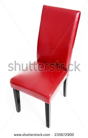 Red Leather Dining Chair Wooden Legs Stock Photo (Royalty Free Throughout Red Leather Dining Chairs (Image 16 of 25)
