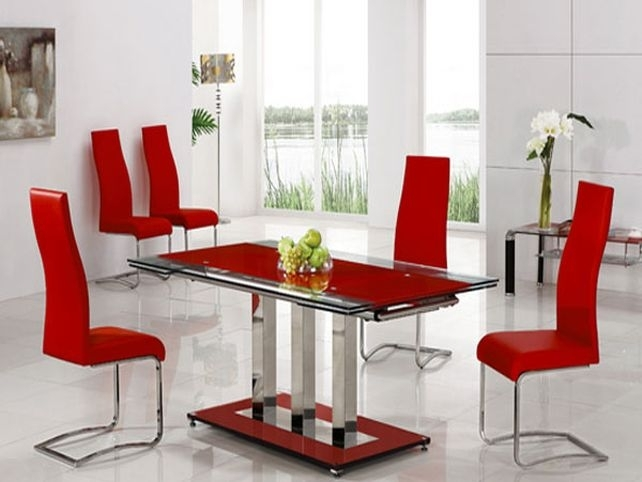 Red Leather Dining Room Chairs For Sale Red Dining Room Round Dining Regarding Red Dining Table Sets (Image 25 of 25)