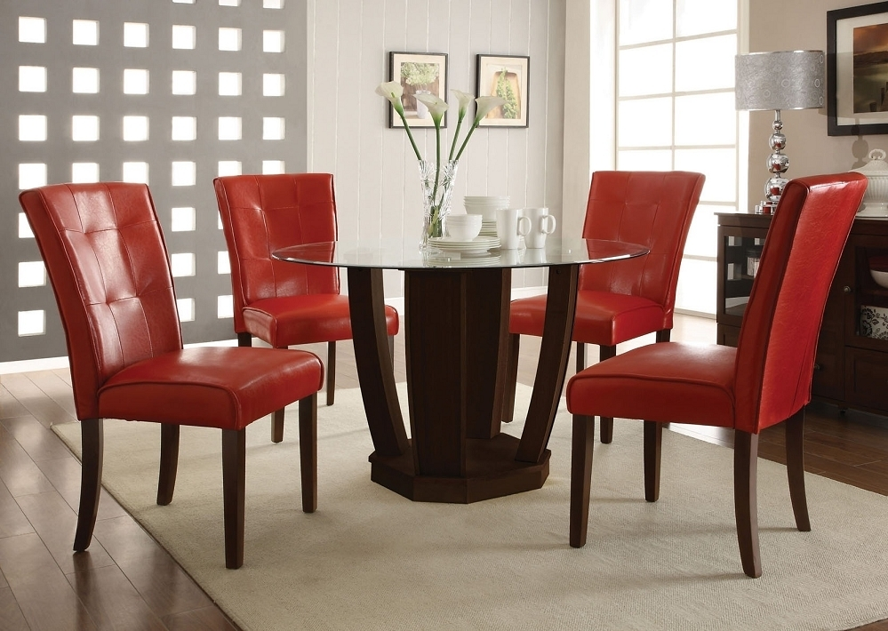 Red Leather Dining Table Chairs | Dining Chairs Design Ideas Pertaining To Glass Dining Tables And Leather Chairs (View 12 of 25)