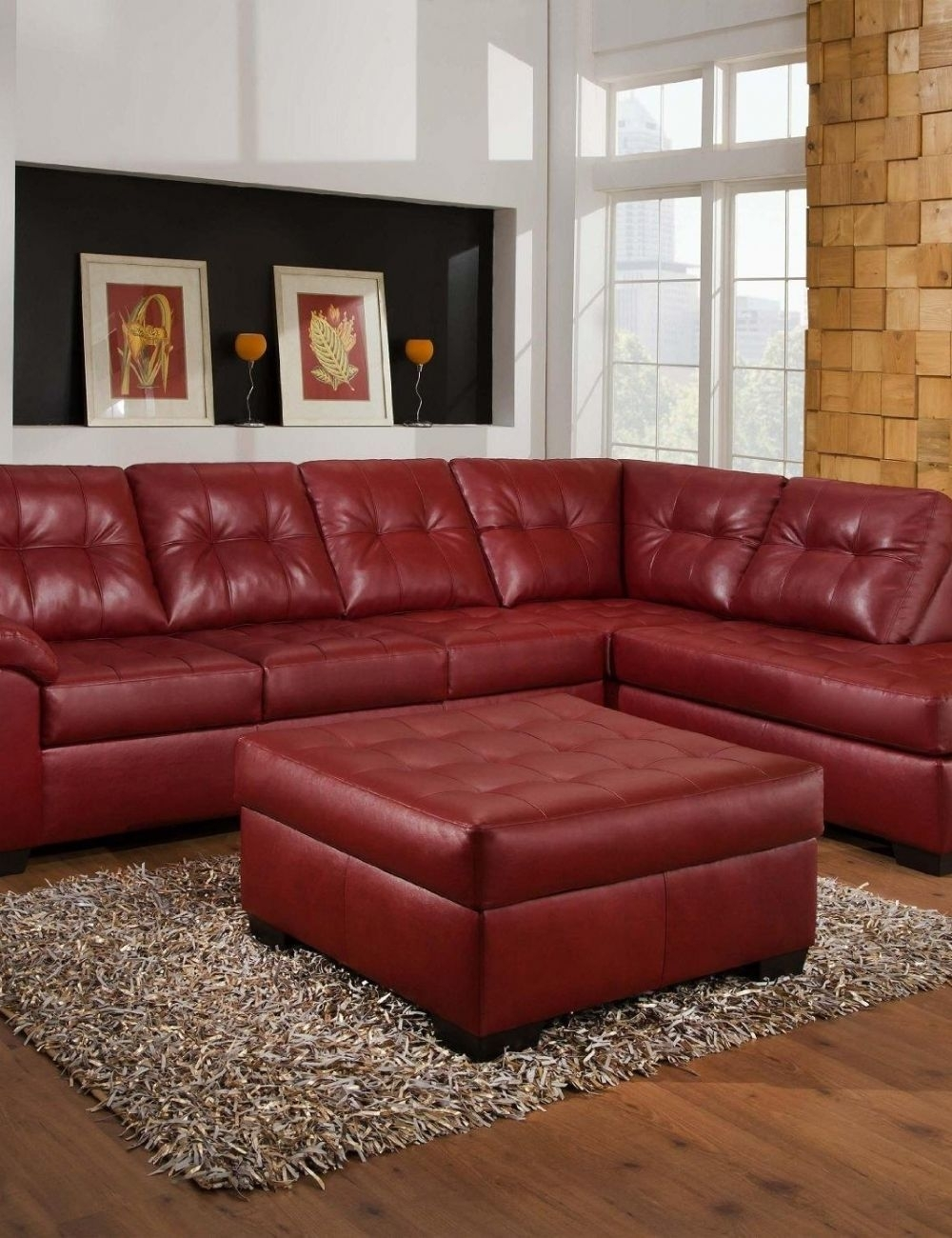 Red Leather Sectional Sofa With Ottoman | Houston Apartment Throughout Nico Grey Sectionals With Left Facing Storage Chaise (Image 19 of 25)