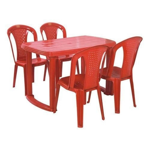 Red Plastic Table Chair Set, Rs 2400 /set, Hanumant Industries | Id in Dining Table Chair Sets