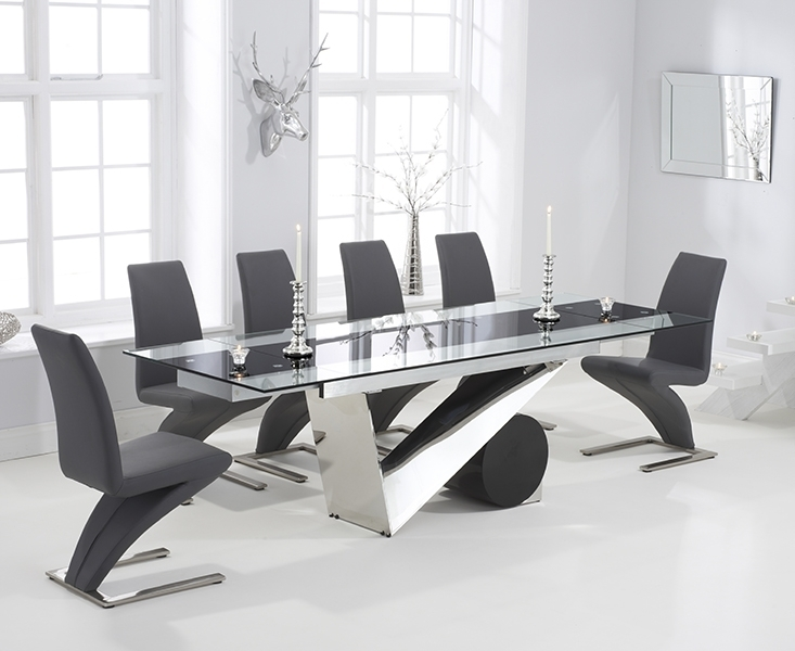 Redcar Glass 170Cm Extending Dining Set With 6 Fusion Z Grey Chairs In Black Glass Extending Dining Tables 6 Chairs (Image 17 of 25)