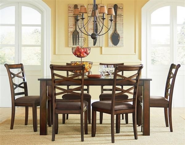 Redondo Transitional Cherry Wood Fabric Leg Table W/6 Chairs Set Intended For Market 7 Piece Dining Sets With Side Chairs (View 8 of 25)