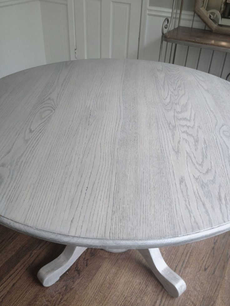 Refinishing Dining Table Gray!!long And Found: Diy Kitchen Table For Washed Old Oak & Waxed Black Legs Bar Tables (Image 20 of 25)