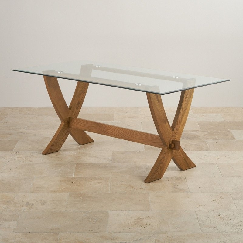 Reflection 6Ft X 3Ft Glass Top And Rustic Solid Oak Crossed Leg With Oak Glass Top Dining Tables (View 13 of 25)