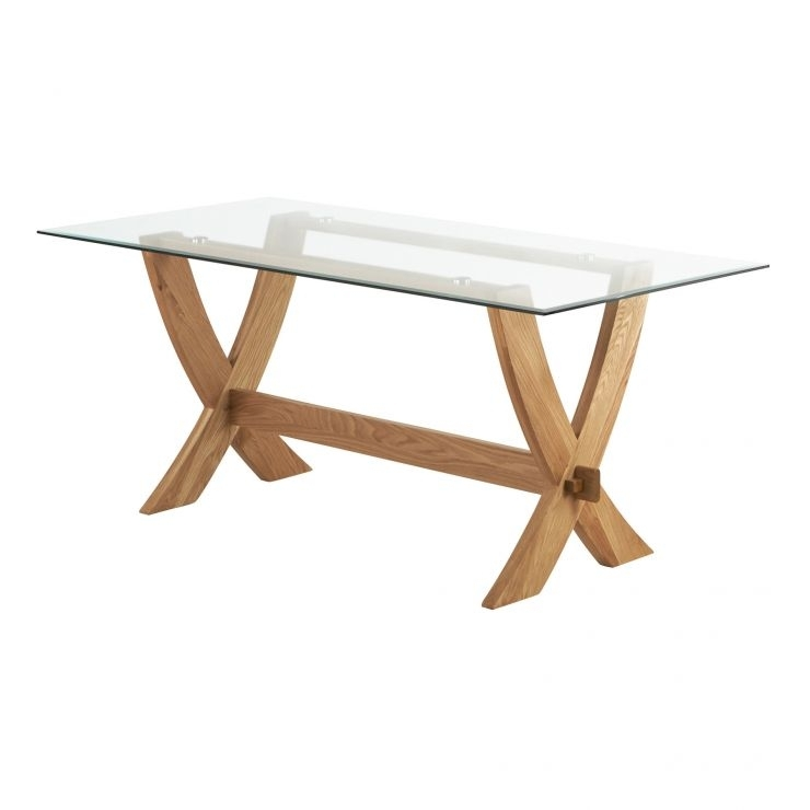 Reflection Crossed Leg Dining Table With Glass Top In Solid Oak With Glass Top Oak Dining Tables (Image 22 of 25)