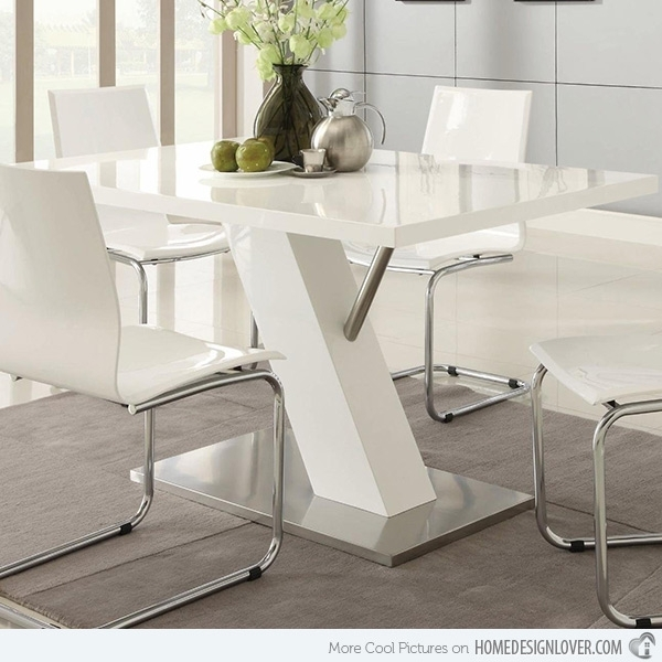 Refreshingly Neat 15 White Dining Sets | Home Design Lover In Contemporary Dining Sets (Image 23 of 25)
