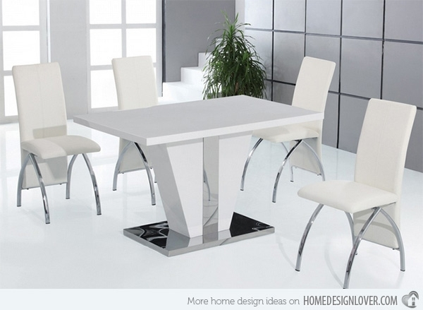 Refreshingly Neat 15 White Dining Sets | Home Design Lover Within Hi Gloss Dining Tables Sets (Image 18 of 25)