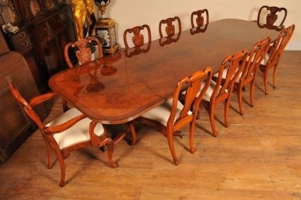 Regency Walnut Dining Table Set Queen Anne Chairs Tables Suite For Walnut Dining Table Sets (View 11 of 25)