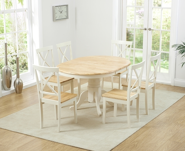 Regis Oak And Cream 100Cm Round Extending Dining Set With 4 Chairs Regarding Extending Dining Tables And 4 Chairs (View 23 of 25)