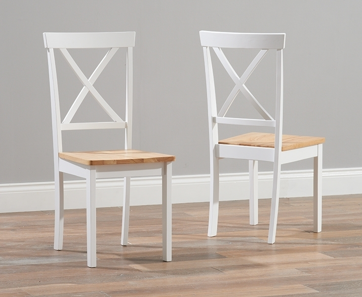 Regis Oak And White 120Cm Round Dining Table With 4 Chairs Intended For Round Oak Dining Tables And 4 Chairs (Image 17 of 25)