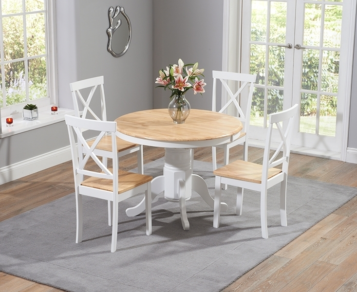 Regis Oak And White 120Cm Round Dining Table With 4 Chairs Regarding Oak Round Dining Tables And Chairs (Image 15 of 25)