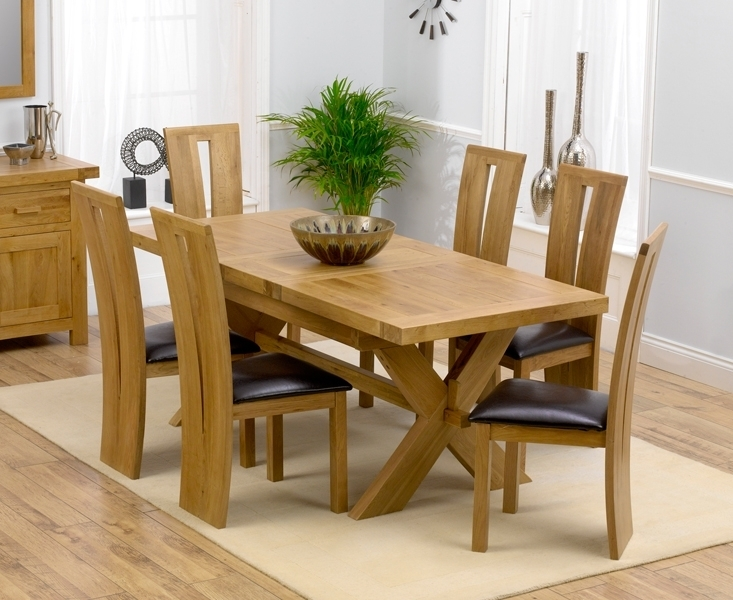 Remarkable Extending Dining Table And 6 Chairs Solid Oak Leather In Extending Dining Room Tables And Chairs (View 20 of 25)