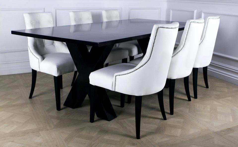 Remarkable White Leather Dining Room Chairs Modern Black Ing Room With White Leather Dining Room Chairs (Image 17 of 25)