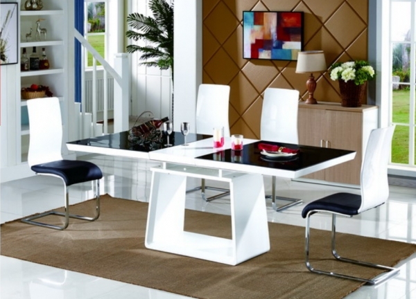 Renato Black/white Modern High Gloss And Glass Large Extending In Hi Gloss Dining Tables (View 25 of 25)