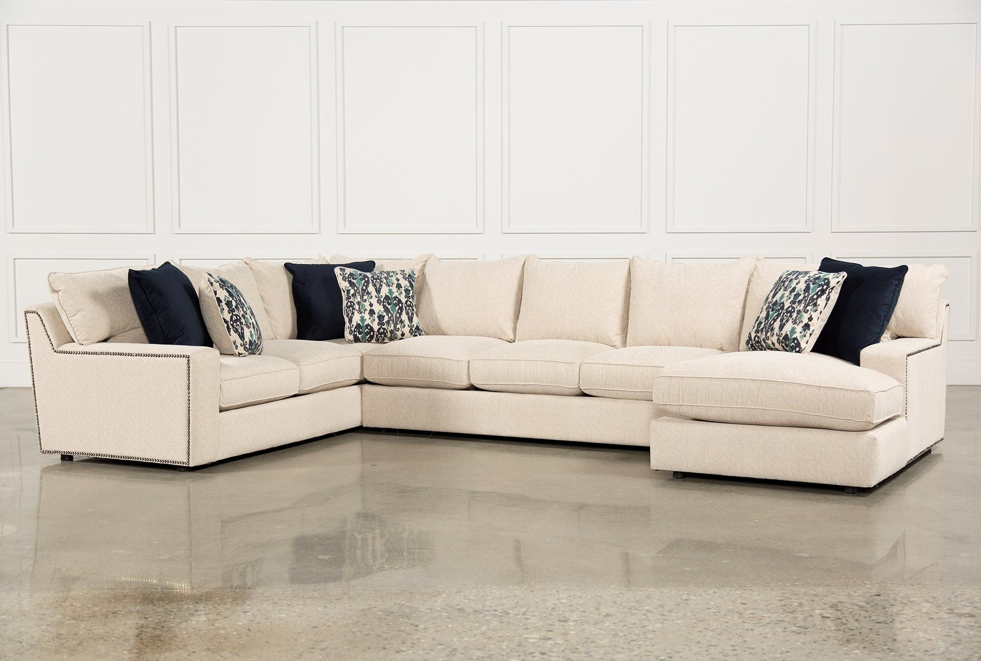 Rennell 3 Piece Sectional W/raf Chaise, None, Sofas | Big Sofas And With Alder 4 Piece Sectionals (Image 21 of 25)