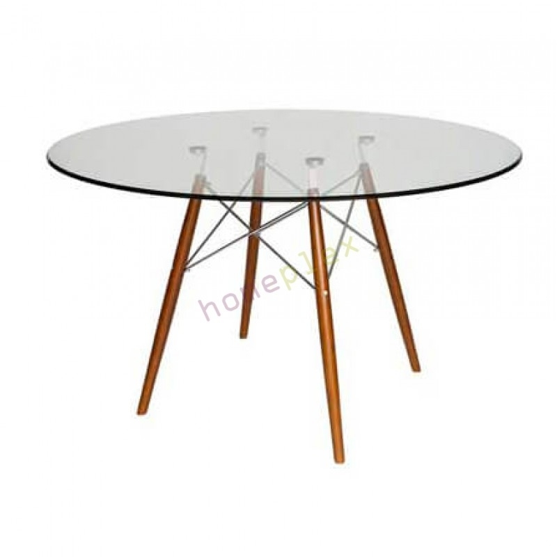 Replica Eames Dsw Eiffel Glass Dining Table And Walnut Legs Intended For Glass Dining Tables With Wooden Legs (Image 23 of 25)