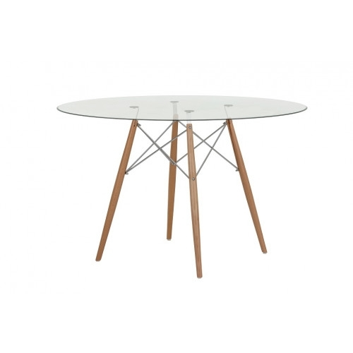 Replica Eames Round 120Cm Glass Dining Table – Chrome And Timber Intended For Perth Glass Dining Tables (View 25 of 25)