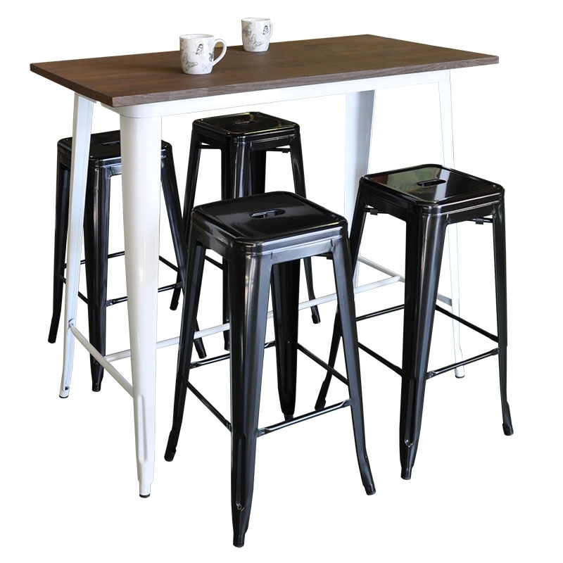 Replica Tolix Bar Table Long Wooden Top – Medium Intended For Dining Tables With Attached Stools (Image 22 of 25)