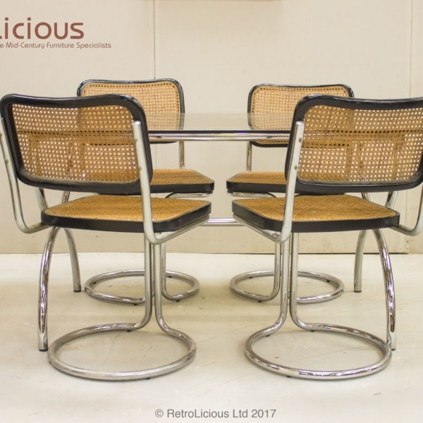 Retro Glass Chrome & Rattan Dining Table Set Boardroom Conservatory Inside Retro Glass Dining Tables And Chairs (Image 16 of 25)
