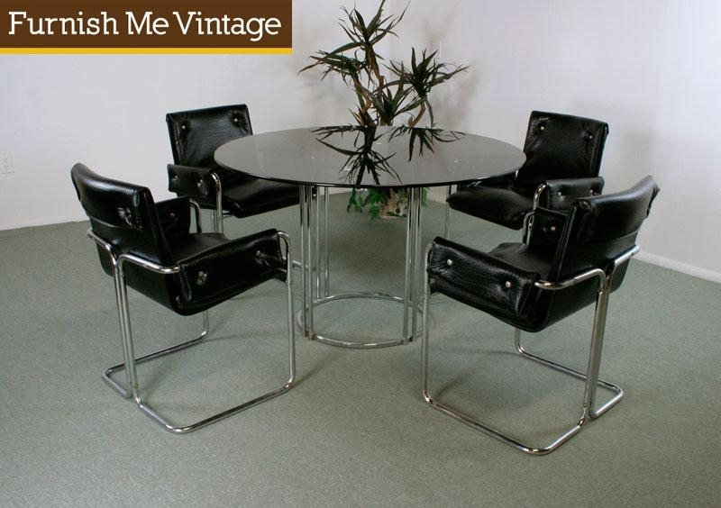 Retro Post Modern Chrome & Glass Dining Table Pertaining To Retro Glass Dining Tables And Chairs (View 24 of 25)