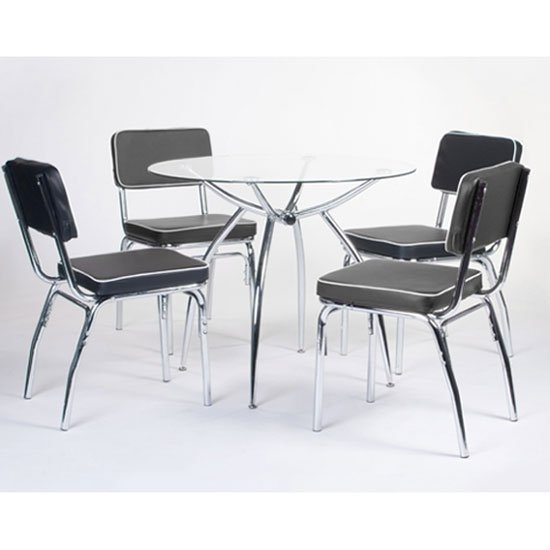 Retro Round Glass Dining Set With 4 Faux Lather Chairs Inside Retro Glass Dining Tables And Chairs (Image 20 of 25)