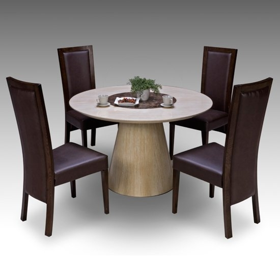 Retro Round Marble Dining Table + 4 Retro Elm Chairs 15674 In 4 Seat Dining Tables (View 3 of 25)