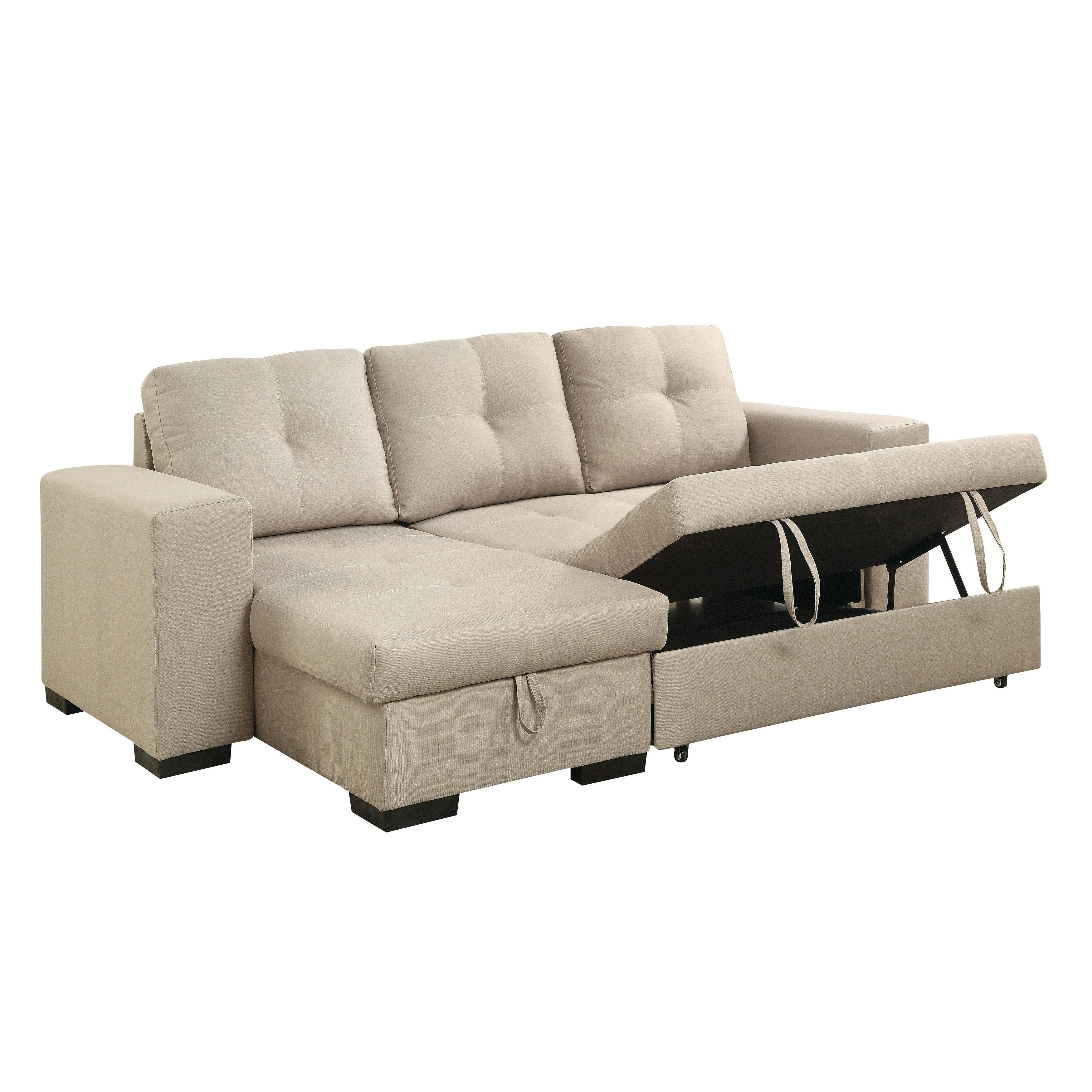 Reversible Sofa Bed | Baci Living Room With Regard To Taren Reversible Sofa/chaise Sleeper Sectionals With Storage Ottoman (Image 15 of 25)