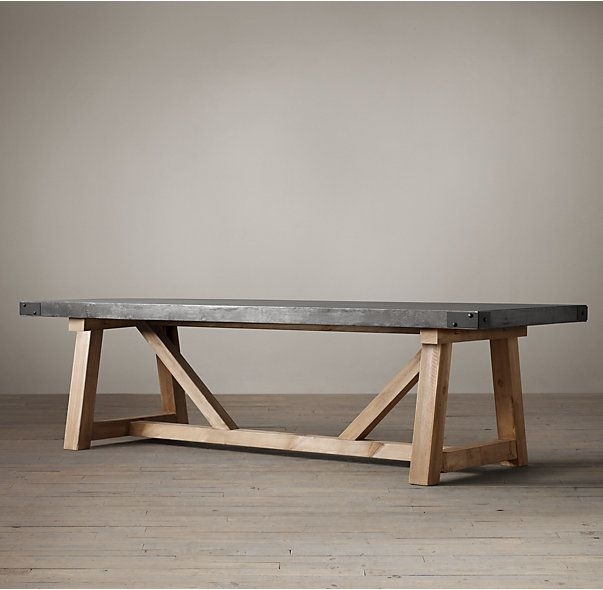 Rh's Salvaged Wood & Concrete Beam Rectangular Dining Table:our For Helms Rectangle Dining Tables (Image 22 of 25)