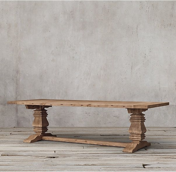 Rh's Salvaged Wood Trestle Rectangular Extension Dining Table:our In Chapleau Ii Extension Dining Tables (View 4 of 25)